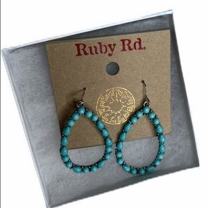 Tear-Drop Shaped Turquoise and Silver Earrings
